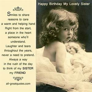 Happy Birthday Sister Cards My Sister My Friend http://www ...