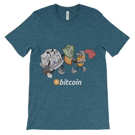 The shield which the bank character holds is slowly cracking. Bitcoin Knight vs Bank Decentralize T-Shirt Colorful ...