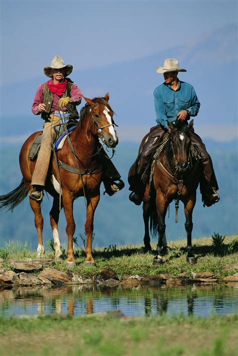 cowboys horses ranch dude horse cowboy texas cowgirls country hill montana ranches west riding cattle water mcnabb into cowgirl horseback