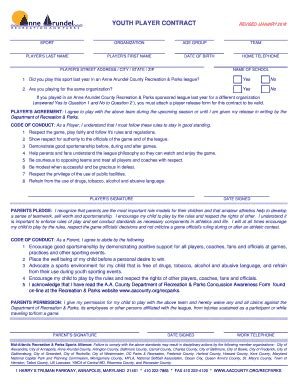 youth soccer player contract exle fill printable fillable blank pdffiller