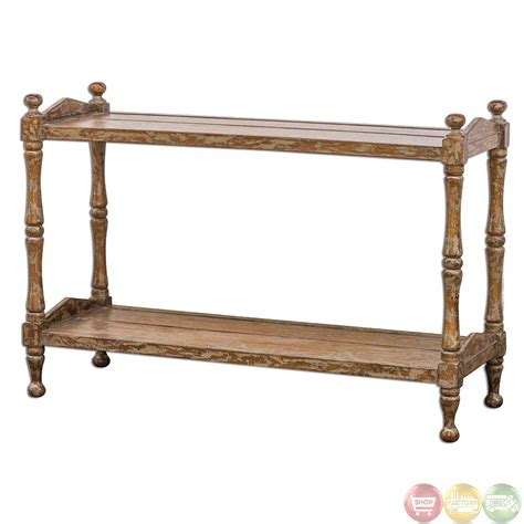rustic wood sofa table macaire country rustic solid wood sofa table 25597 ebay