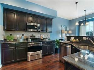 kitchen idea 1 bright blue wall dark cabinet weathered With kitchen cabinets lowes with brown and grey wall art