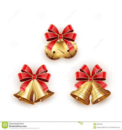 christmas bells bow ribbon set of christmas bells with ribbon stock vector image 60584658