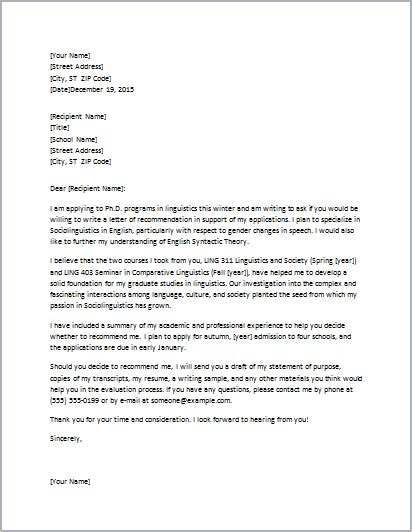 letters of recommendation for grad school ms word student academic letter templates formal word