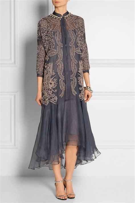biyan atalia embellished tulle  silk organza dress