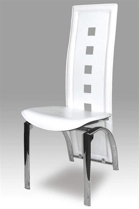 leather dining chair with contemporary back and chrome