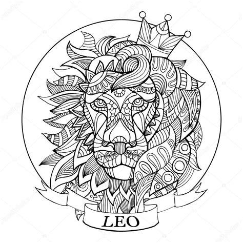 segno zodiacale leone da colorare libro vettoriale