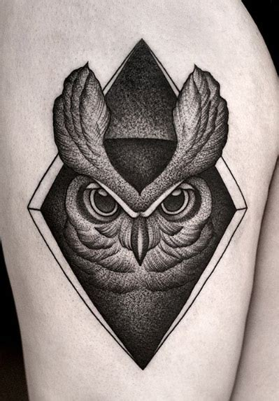 owl tattoo design ideas  watercolor dotwork