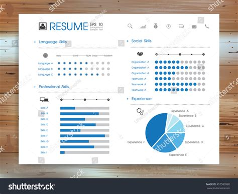 abstract resume info graphic background on stock vector