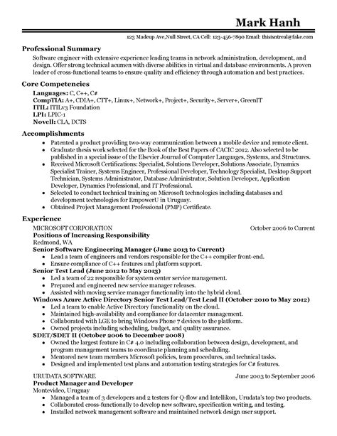 Resume Summary Software Engineer by 37 Software Engineer Resume Summary Wi O77660