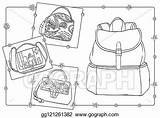 Coloring Stylish Bags Vector Backpack Clip Illustration Gograph sketch template