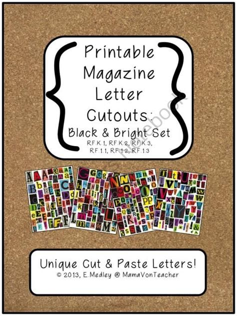 printable magazine letters black bright set a z literacy center word work from