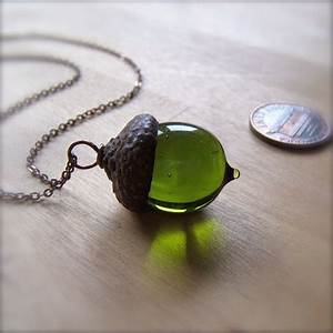 Glass Acorn Necklace in Transparent Olivine by