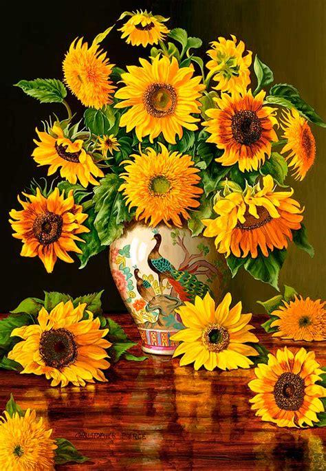 comprar puzzle castorland girasoles en florero pavo real