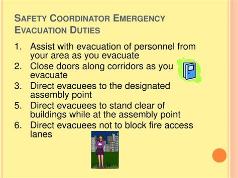 safety coordinator description ppt safety coordinator emergency evacuation powerpoint presentation id 278655