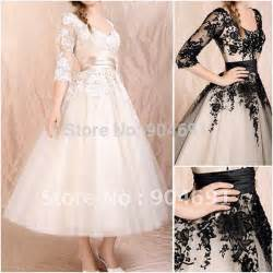 3 4 length sleeve wedding dress chagne black lace bridal dress 3 4 sleeve wedding dresses tea length bridal gown plus size