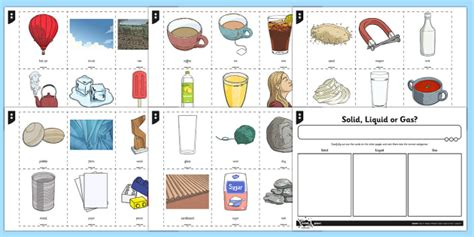 solid liquid and gas sorting activity science resource twinkl