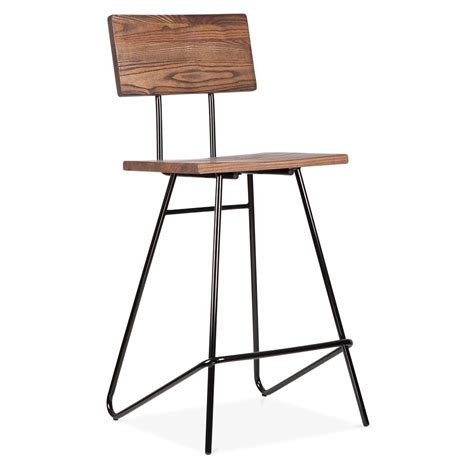 chaises hautes de bar 64cm transit stool in black with wood seat by cult living