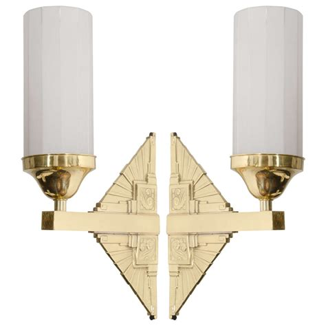 deco wall sconces deco pair of brass wall sconces at 1stdibs