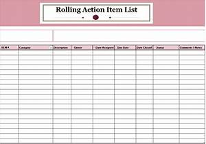 rolling action item list template ms office documents With action list template excel free