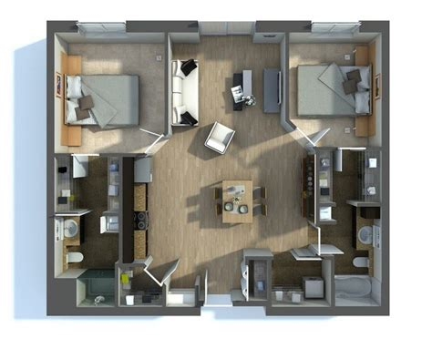 Two Bedroom Apartment Design Plans by 20 Awesome 3d Apartment Plans With Two Bedrooms Part 2