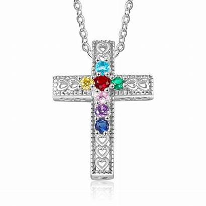 Personalized Pendants Birthstones Necklace Jewelry Seven Cross