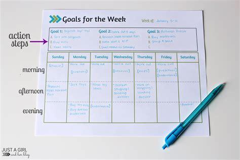 weekly goals weekly goals printable free printable 4 real