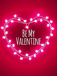 Pink Lights Happy Valentine s Day Card