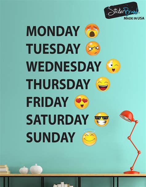 Days Of The Week Emojis Vinyl Wall Decal Sticker #6071