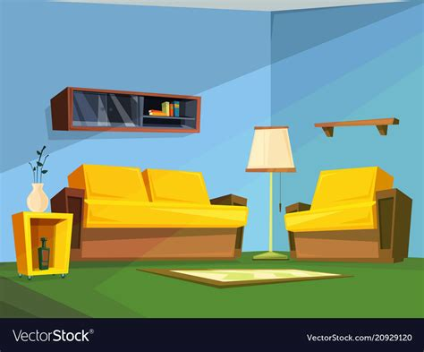 living room interior  cartoon style royalty  vector