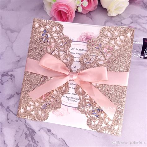 Luxury Rose Gold Laser Cut Wedding Invitation With Ribbon