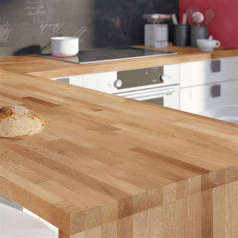 table plan de travail cuisine plan de travail bois hêtre brut mat l 250 x p 65 cm l 65