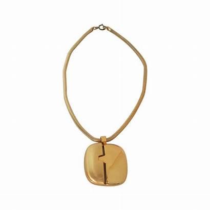 1970s Necklace Lanvin Pendant Gold Modernist Jewelry