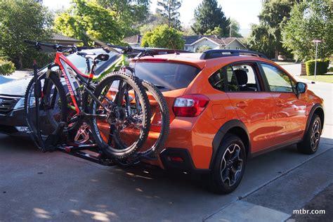 subaru crosstrek bike rack subaru crosstrek xv with yakima holdup hitch rack