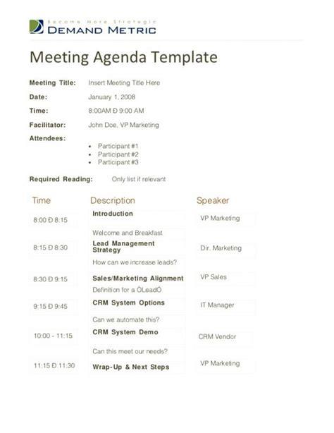 sales meeting agenda template business