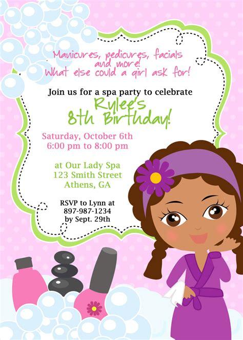 diy sassy spa party invitation african american  girl