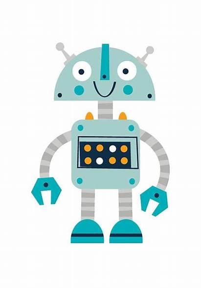 Robot Robots Nursery Cartoon Prints Valentine Para