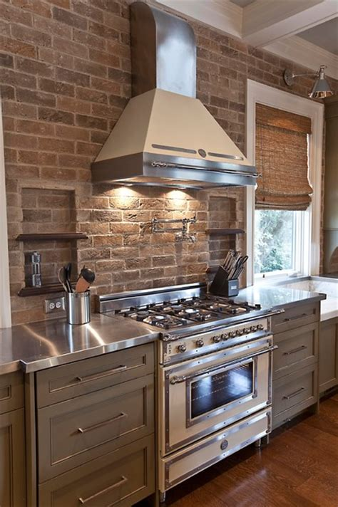 charming kitchen designs  brick backsplash