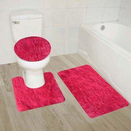hot pink  piece solid plain shaggy bathroom rug set