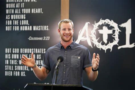 wentz walks  fine   preaching  faith sports