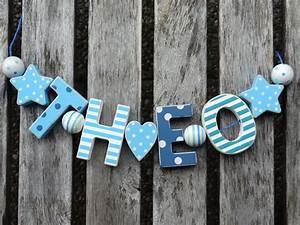 Buchstaben Deko Kinderzimmer : theo namenskette shabby chic holz buchstaben holzbuchstaben taufe geburt name kinderzimmer ~ Orissabook.com Haus und Dekorationen
