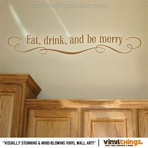 eat drink and be merry wall decal kitchen decals eat With kitchen cabinets lowes with eat drink and be merry wall art