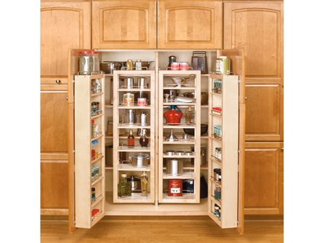 Wooden Shelves With Doors Tall Kitchen Pantry Cabinet