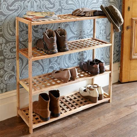 STORE   4 Tier Walnut Wooden Shoe Rack