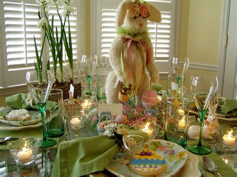Easter Home Decor Styling: Easter Table Setting Tablescape With Bunny Centerpiece