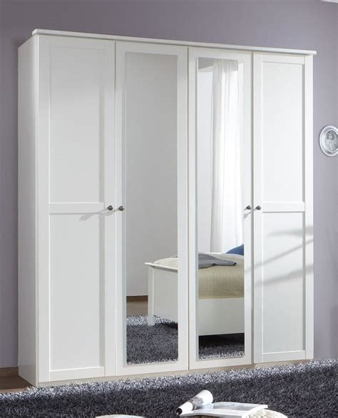 White 4 Door Wardrobe by German Chalet Shaker Style White 4 Door Mirror Wardrobe