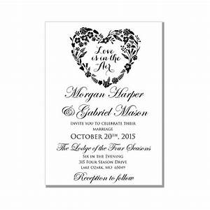 wedding invitation template love is in the air heart With template for wedding invitations in microsoft word