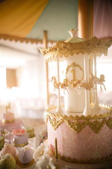 karas party ideas gold  pastel carousel birthday party