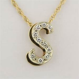 Pre owned diamond s letter pendant with 20 inch chain for S letter chain