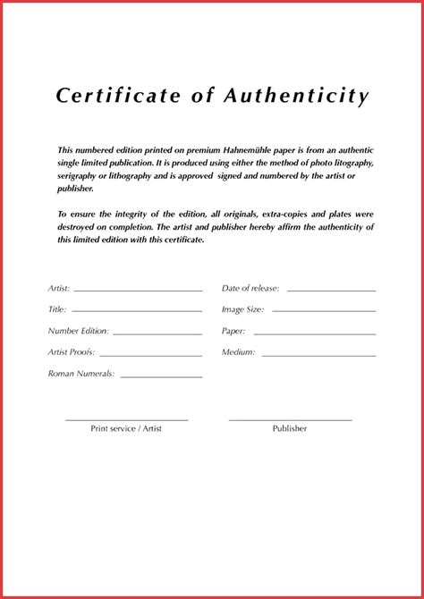 Certificate Of Authenticity Template Certificates Of Authenticity Templates Images Avery